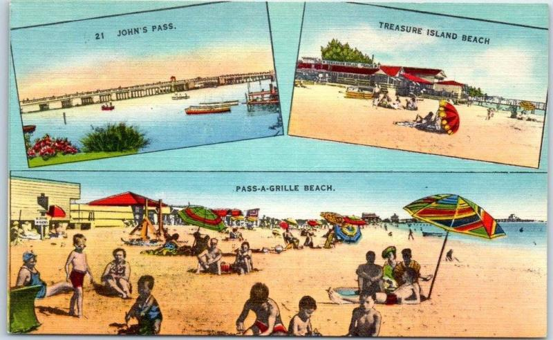 Pass-A-Grill Beach, Florida Postcard 3 Bathing Beach Scenes Linen c1950s Unused