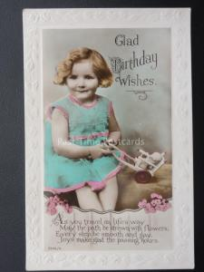 LITTLE GIRL PLAYING WITH HER DOLLY IN RICKSHAW Birthday Greeting Old RP Postcard