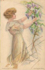 Artist Signed Fidler LeMunyan Glamour Woman Purple Rain Vintage Postcard 06.33