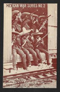 Mexican Soldiers in Train Car to Veracruz Unused c1914