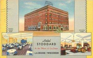 Hotel Stoddard roadside La Crosse Wisconsin Multi View Postcard Teich 11533