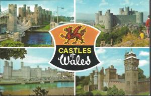 Postcard Multiview CASTLES OF WALES by ETW Dennis & Sons Ltd