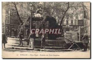 Old Postcard Trading Cards Place Puget Toulon Fountain of Three Dolphins TOP