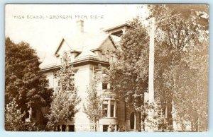 RPPC  BRONSON, Michigan MI ~ HIGH SCHOOL Branch County 1911  Postcard
