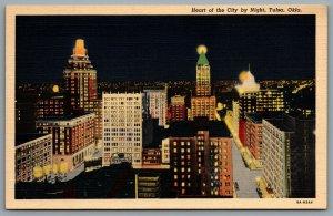 Postcard Tulsa OK c1938 Heart of the City by Night Ritz Hotel Night View Linen