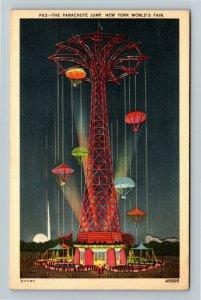 1939 New York World's Fair- Night View Parachute Jump Ride Chute Tower Postcard