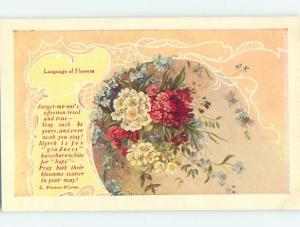c1910 language of flowers C. PRESTON-WYNNE QUOTE WITH FLOWERS - SIGNED HL5994