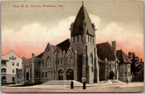 Pasadena, California Postcard First M.E. Church Street View NEWMAN 1908 Cancel