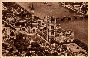 The Houses of Parliament from the Air vintage postcard