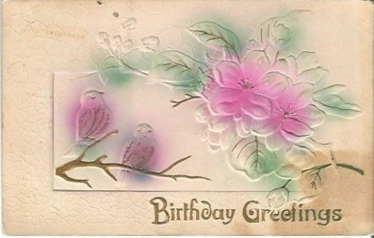 Antique Novelty Postcards Birthday Greetings Heavily Embossed Airbrushed Gold