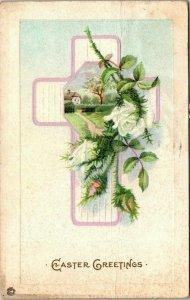 VTG Postcard Easter Greeting Rose Cross Cottage 1908 Lansing Grand Ledge MI 1415