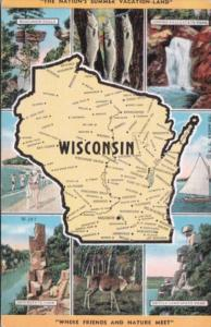 Map Of Wisconsin The Nation's Summer Vacation Land