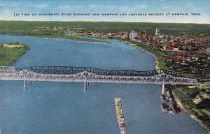 Air View Of Mississippi River Showing New Memphis And Arkansas Bridges At Mem...