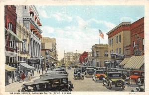A68/ Reno Nevada Nv Postcard c1910 Virginia Street Soda Shop Stores Automobiles