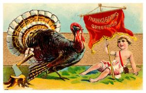 Thanksgiving , Turkey , Cupid with banner