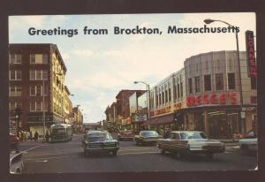 BROCKTON MASSACHUSETTS DOWNTOWN SS KRESGE STORE OLD CARS VINTAGE POSTCARD