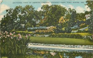 Fort Wayne Indiana~Sectional View of Jaenicke Gardens~Swinney Park 1949 Linen PC