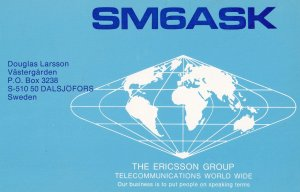 Dalsjofors Sweden Amateur Radio Ericsson Group QSL Card