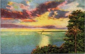 Sunset Straits of Mackinac, St. Ignace Michigan postcard