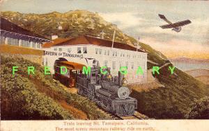 1912 Mount Tamalpais CA Postcard: Southern Pacific RR Train Leaves the Tavern
