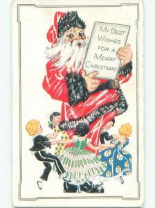 Pre-Linen christmas KIDS DANCE AROUND SANTA CLAUS W7124