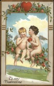 Valentine - Naked Cherubs Sit in Tree c1910 Postcard