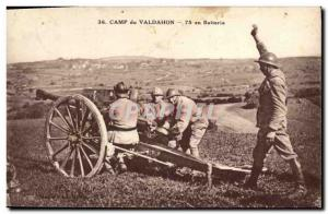Old Postcard Army Camp Valdahon 75 battery