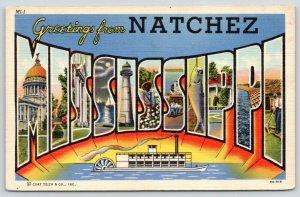 Natchez Mississippi~State Large Letter Linen Postcard~Sternwheeler Paddle Boat