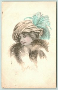 Artist Signed~Lovely Lady in Turban Hat w/ Blue Feather~Fur~Schlessinger Bros