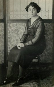 Vintage Young Lady~Sheer Sleeve Dress~Nice Wallpaper~Beviled? Glass c1914 RPPC