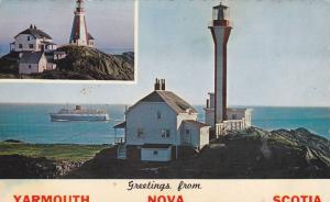 2-Views, The Old & The New Yarmouth Lighthouse At Cape Forchu, Yarmouth, Nova...