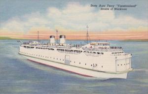 Michigan Straits Of Mackinac State Auto Ferry Vacationland Curteich