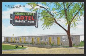 Charnocks Motel Rochelle Illinois Unused c1951