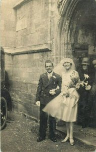 Social history early photo postcard wedding groom & bride dated 19th april 1930