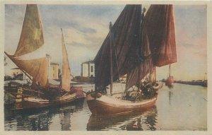 Postcard sailing boats port image illustration