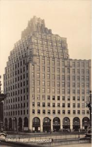 Indianapolis Indiana~Circle Tower (from Monument Circle)~Signs in Windows~RPPC