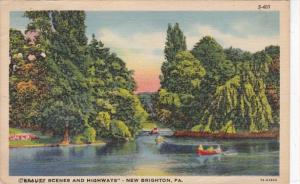 Pennsylvania New Brighton Canoeing Scene 1938 Curteich