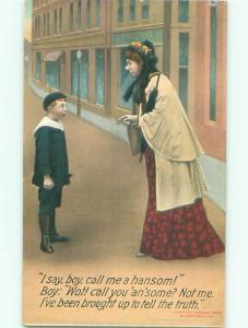 Bamforth Comic BOY WON'T CALL WOMAN HANDSOME AB9794