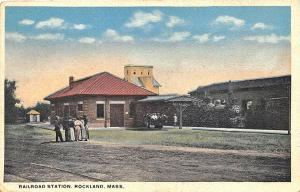 Rockland MA Railroad Station Train Depot Train Postcard