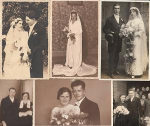 Lot 6 early wedding photo postcards groom & bride