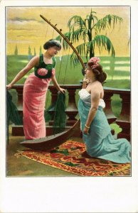 PC CPA ARABIAN TYPES AND SCENES, DANCER LADIES, Vintage Postcard (b17427)