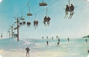 MICHIGAN, 50-60s ; People skiing, riding chair lift, Winter Wonderland