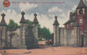 Main Entrance to Penn Avenue Cemetery, Pittsburgh, PA, 1910 used Postcard