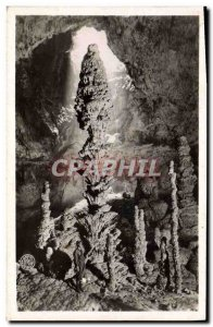 Postcard Old Cave Caves Orgnac Stalagmite shaped pine cone