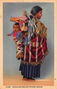 American native Navajo and Papoose, Arizona Vintage Postcard