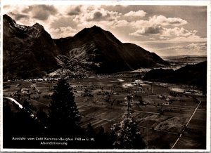Aussicht Cafe Kerenzer Berghus Birdseye view fields mountains  vintage postcard