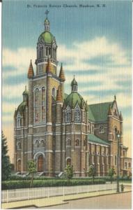 Saint Francis Xavier Church Nashua New Hampshire Vintage Postcard Linen