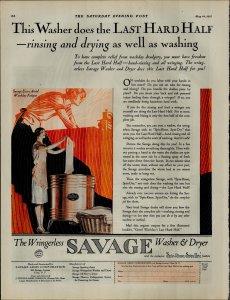 1927 Wringerless Savage Washer and Dryer Lady Washing Vintage Print Ad 3886