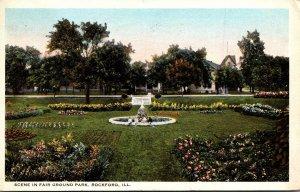 Illinois Rockford Scene In Fair Ground Park 1922