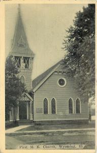 Wyoming Illinois~First Methodist Episcopal Church~Tall Tower~B&W 1911 Postcard
